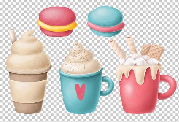 Hand drawn coffee cups