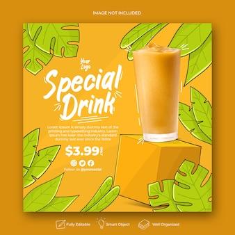Ручной обращается напиток сок меню шаблон поста instagram