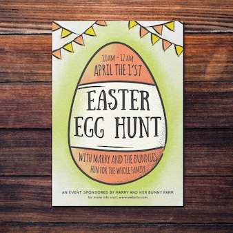 Hand drawn easter poster mockup