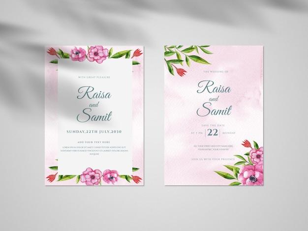 手描きの花と葉、ビンテージの結婚式の招待カード セット テンプレート