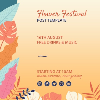 Hand drawn flower festival post template