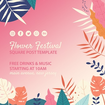 Hand drawn flower festival square post template
