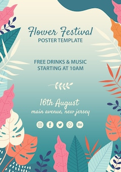 Hand drawn flower festival template