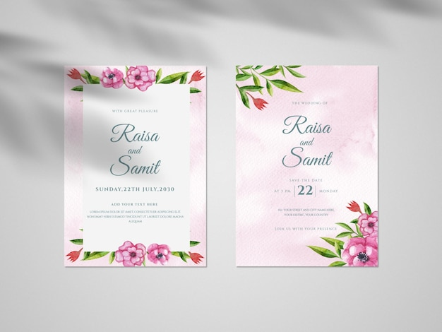 Hand-drawn flower and leaves, vintage wedding invitation card set template