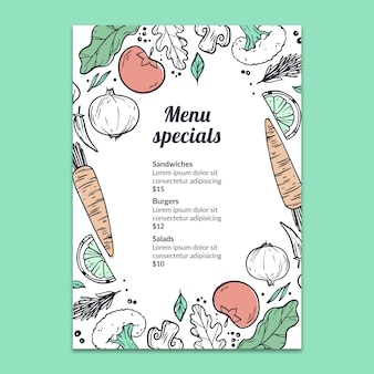 Hand drawn menu mockup