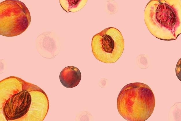 手描きの自然な新鮮な桃の模様の背景