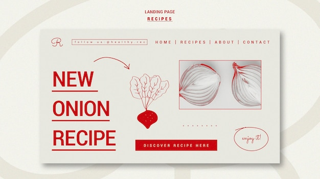 Hand drawn recipes landing page template