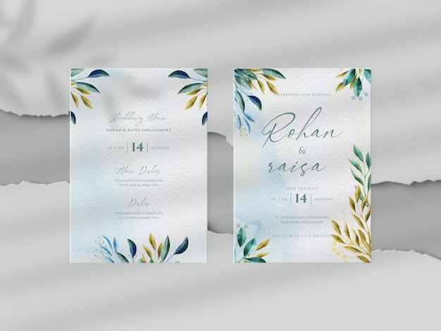 Hand drawn watercolor floral wedding with invitation card mockup