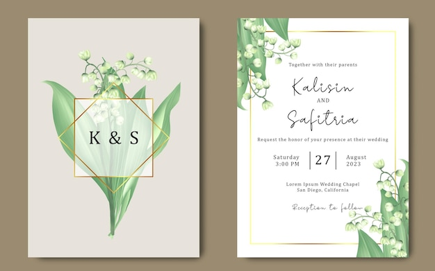 Hand drawn wedding invitation template with lily of the valley flower