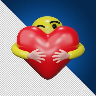 Рука обнимает красное сердце. обнимая символ любви 3d рендеринг