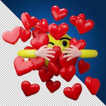 Рука обнимает красное сердце в 3d-рендеринге
