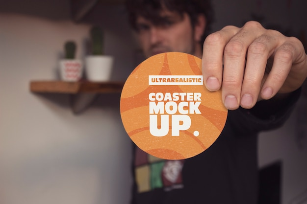 Hand front round coaster mockup