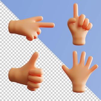 Жест рукой симпатичный 3d-рендеринг указывая указательным пальцем большой палец вверх