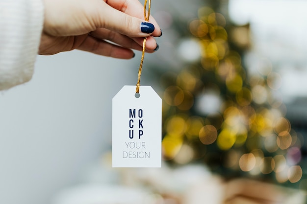 Hand holding christmas tag template
