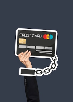 Hand holding credit card clipart