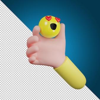 Hand holding emotion icon symbol. love icon,  social media icon, 3d illustration