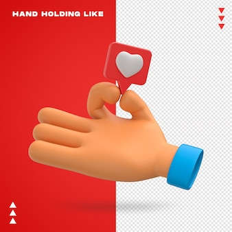 Hand holding like emoji 3d design