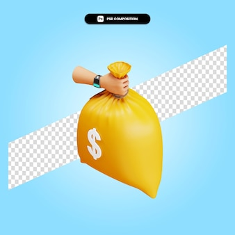 Рука держит денежный мешок 3d визуализации изолированных иллюстрация