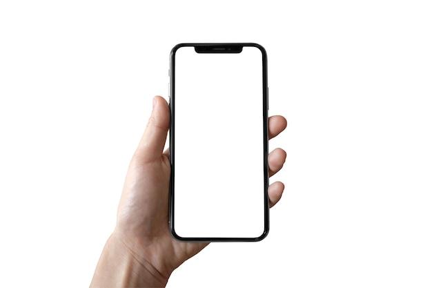 新しいスマートフォンのモックアップを持っている手