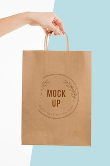 Hand holding a paper bag mock-up