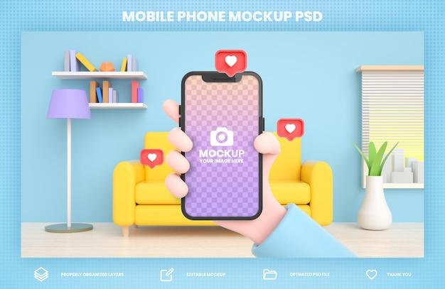 소셜 미디어 게시물 템플릿에 대한 손을 잡고 전화 3d 렌더링 모형