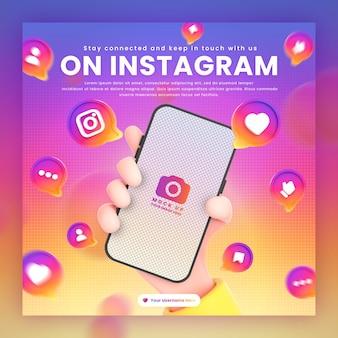 プロモーションinstagramの投稿テンプレートの3dレンダリングモックアップの周りに電話のinstagramアイコンを持っている手