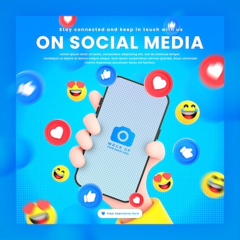 Hand holding phone social networking icons around 3d rendering mockup for social media post template