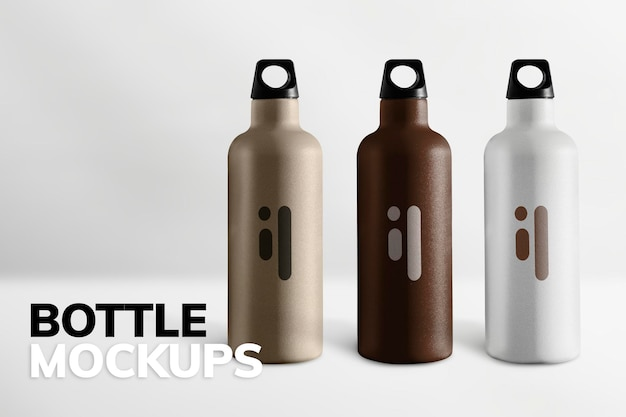 Mano che tiene un modello di bottiglia viola in acciaio inossidabile con v urbano
