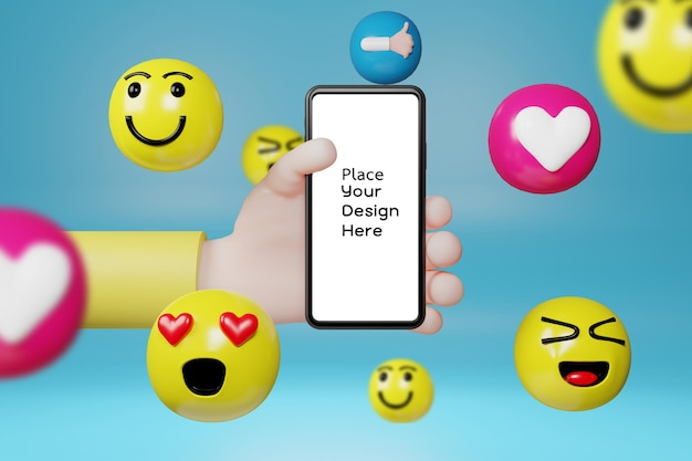 Hand holding smartphone with cartoon emoticons icons for social media.