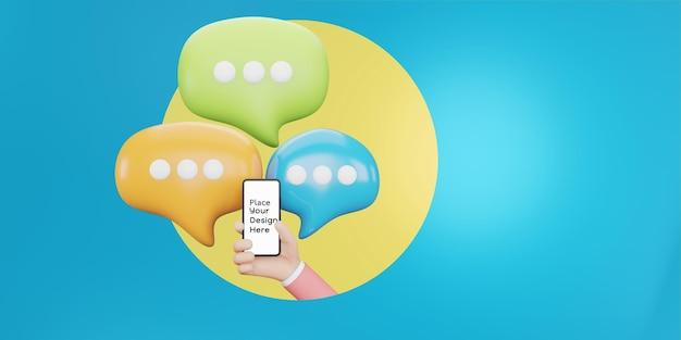 연설 거품과 함께 손을 잡고 스마트폰입니다. 응용 프로그램, 소셜 미디어 개념에 대한 채팅. 3d 그림