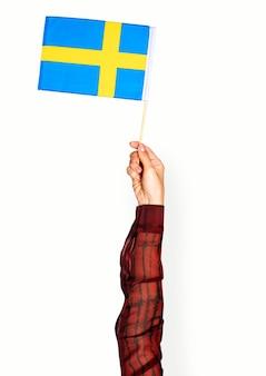 手を持ってスウェーデンの旗を隔離