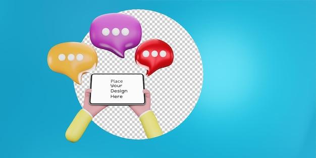 연설 거품과 함께 손을 잡고 태블릿입니다. 응용 프로그램, 소셜 미디어 개념에 대한 채팅. 3d 그림