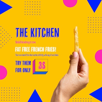 Hand holding tasty french frie template