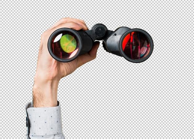 Hand of man holding with binoculars