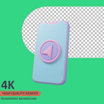 携帯電話3dトラベラーアイコンイラスト高品質レンダリング