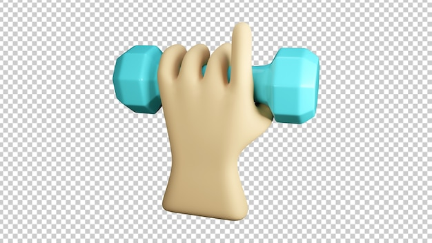 Hand pointing and holding dumbbe isolated in 3d rendering