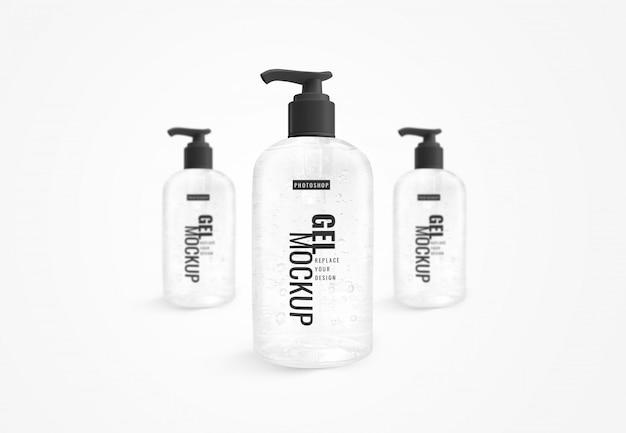 Hand sanitizer bottle of alcohol clear gel mockup