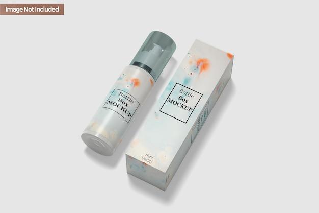 Изолированный макет коробки для бутылок с дезинфицирующим средством для рук