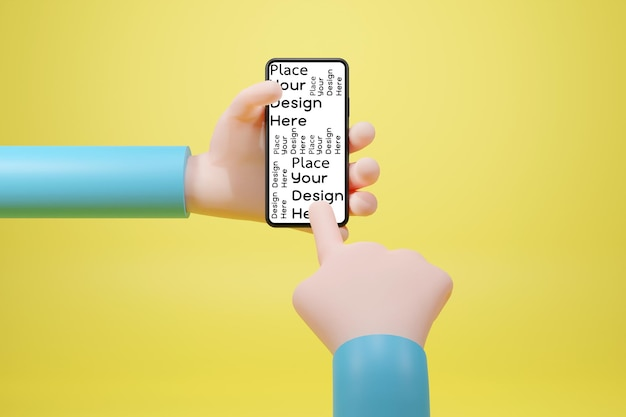 Hand using smart phone 3d rendering