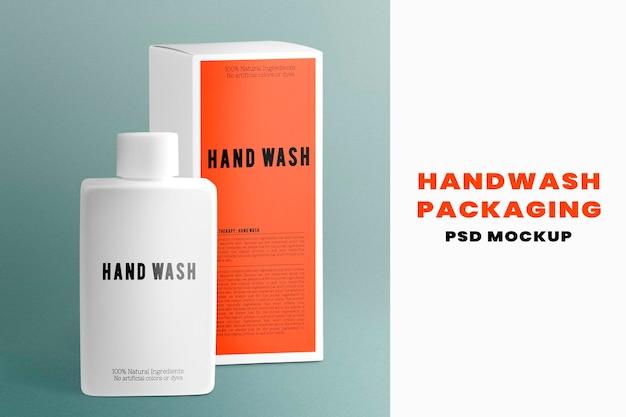 Hand wash bottle mockup psd product packaging in minimal design