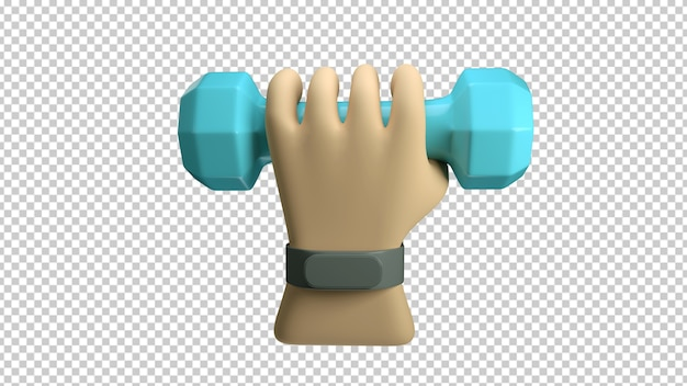 Hand with a fitness bracelet holding a dumbbell isolated in 3d rendering