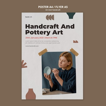 Handcraft and pottery poster template