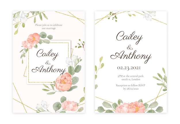 Handdrawn floral wedding invitation