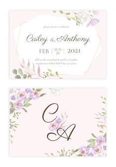 Handdrawn floral wedding invitation