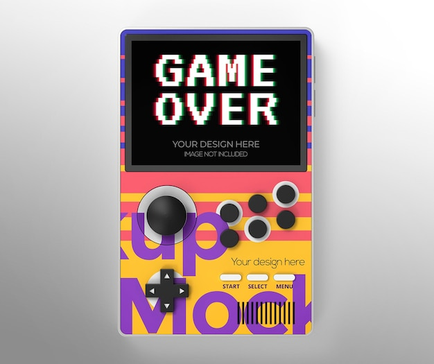 Handheld game mockup for advertising or branding