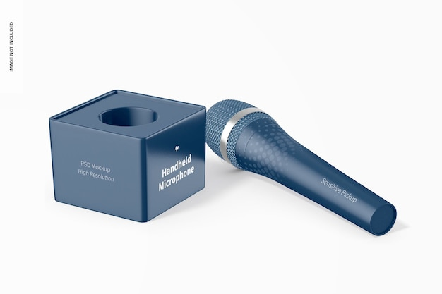 Handheld microphone with cube mockup, perspective