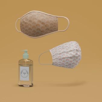 Maschere fatte a mano e disinfettante per le mani con mock-up