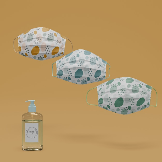 Handmade face masks and hand sanitizer with mock-up