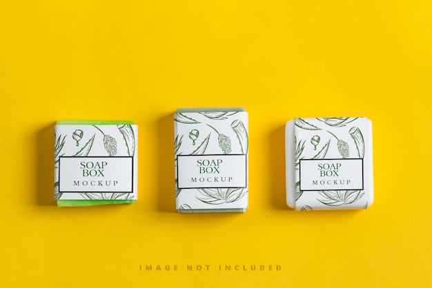 Handmade herbal natural soap bar set with paper mockup