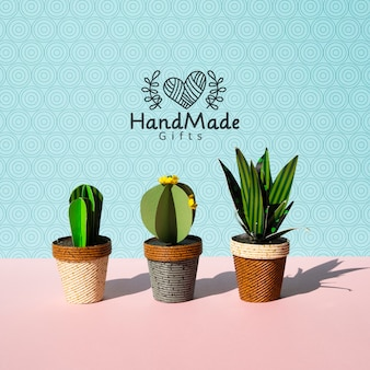 Handmade paper cacti with pots background